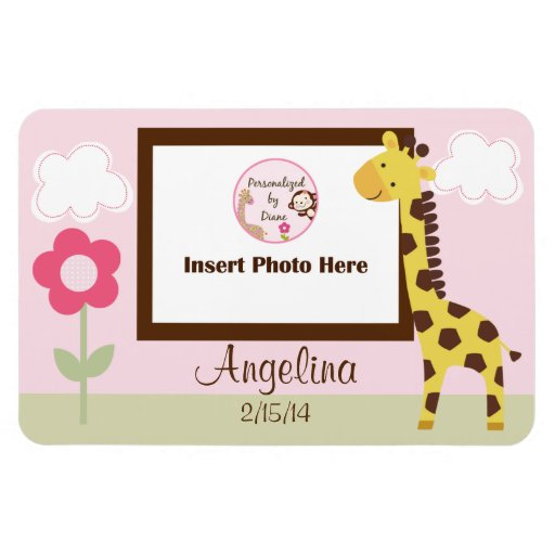 Cute Giraffe Girl Personalized Photo Magnet