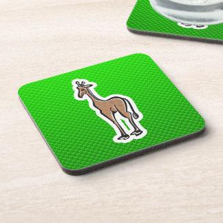 Cute Giraffe; Green Beverage Coaster