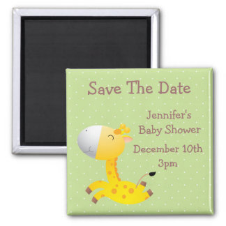 Cute Giraffe Green Save The Date Baby Shower 2 Inch Square Magnet