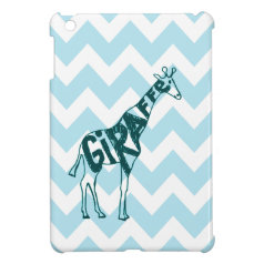 Cute Giraffe Hand Drawn Sketch on Blue Chevron iPad Mini Case