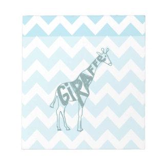 Cute Giraffe Hand Drawn Sketch on Blue Chevron Memo Note Pad