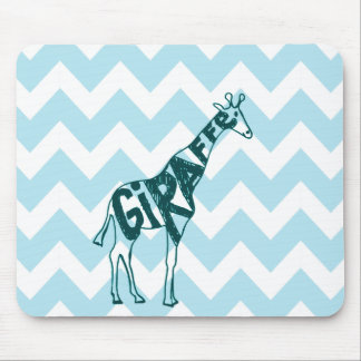 Cute Giraffe Hand Drawn Sketch on Blue Chevron Mouse Pad
