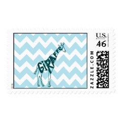 Cute Giraffe Hand Drawn Sketch on Blue Chevron Stamp