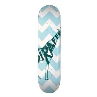 Cute Giraffe Hand Drawn Sketch on Blue Chevron Skateboard Deck