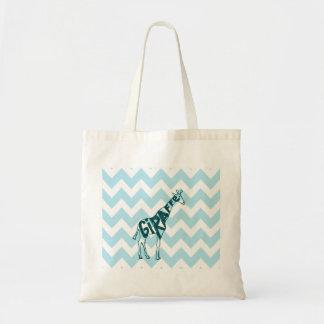 Cute Giraffe Hand Drawn Sketch on Blue Chevron Tote Bag