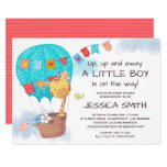 Cute Giraffe Hot Air Balloon Baby Shower Invitation