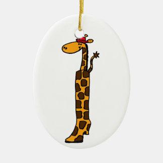 Cute Giraffe in a Boot Design Christmas Tree Ornaments