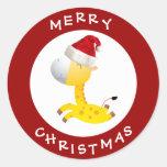 Cute Giraffe in Santa Hat Red Christmas Stickers
