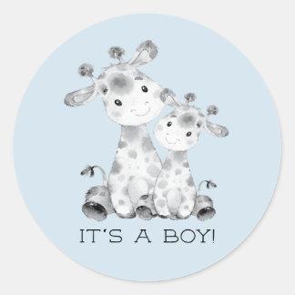 Cute Giraffe It' a Boy Favor Sticker