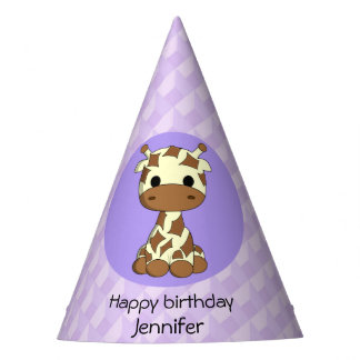 Cute giraffe kawaii cartoon kids birthday party hat