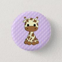 Cute giraffe kawaii cartoon purple kids button