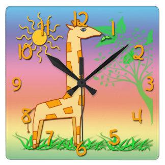 Cute Giraffe Kid's Square Wall Clock