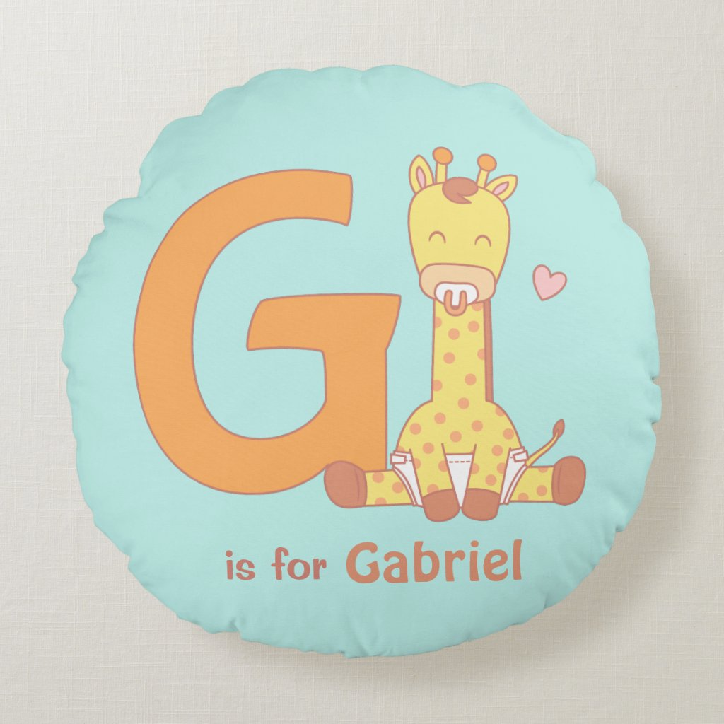 Cute Giraffe Letter G Baby Nursery Room Decor Round Pillow