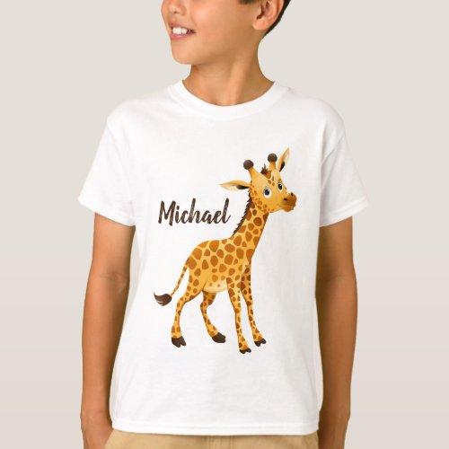 Cute Giraffe Looking at You T_Shirt