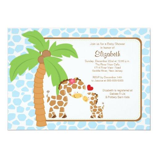 Cute Giraffe Mom & Baby Boy Baby Shower 5x7 Paper Invitation Card