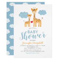 Cute Giraffe Mother and Child Baby Shower Invitation