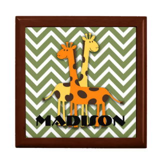 Cute Giraffe on Green Chevron Gift Box