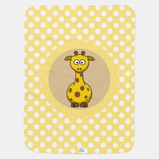 Cute Giraffe on Polka dot and Chevron Pattern Receiving Blanket