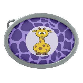Cute Giraffe on Purple Zoo Animals Pattern Print Oval Belt Buckles