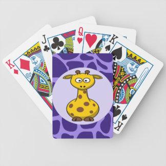 Cute Giraffe on Purple Zoo Animals Pattern Print Bicycle Card Deck