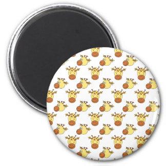 Cute Giraffe Pattern. 2 Inch Round Magnet