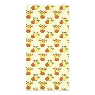 Cute Giraffe Pattern. Cartoon Animals. Custom Photo Card