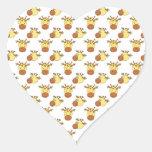 Cute Giraffe Pattern. Heart Stickers