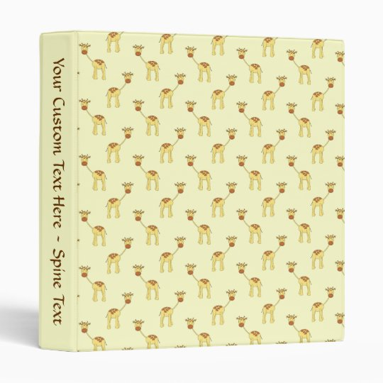 Cute Giraffe Pattern on Yellow. 3 Ring Binder
