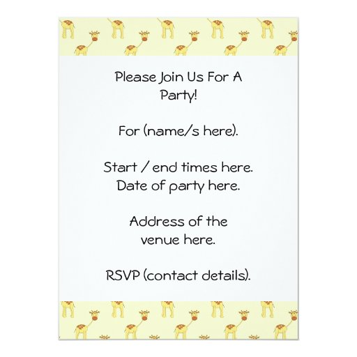 Cute Giraffe Pattern on Yellow. 6.5x8.75 Paper Invitation Card