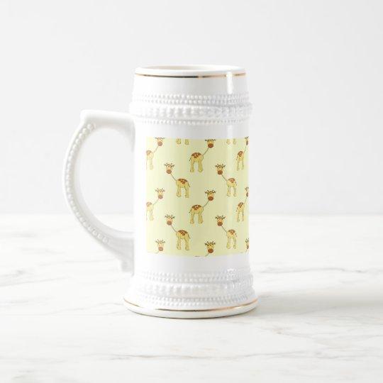 Cute Giraffe Pattern on Yellow. Beer Stein