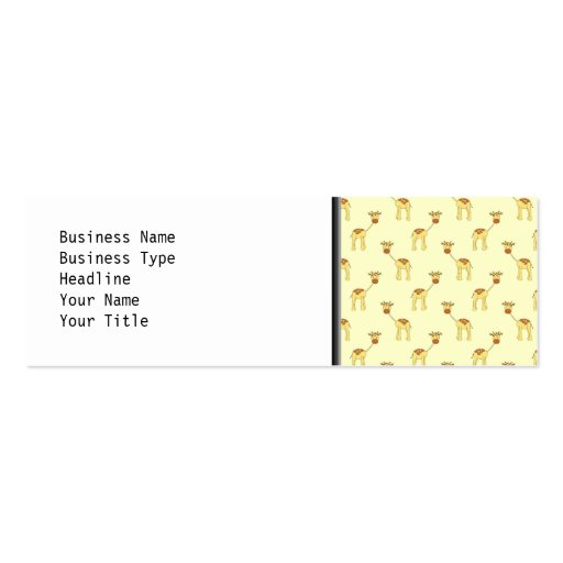 Cute Giraffe Pattern on Yellow. Double-Sided Mini Business Cards (Pack Of 20)