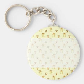 Cute Giraffe Pattern on Yellow. Key Chain