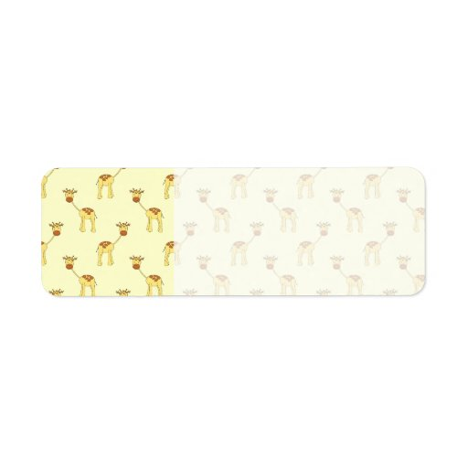 Cute Giraffe Pattern on Yellow. Return Address Label