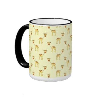 Cute Giraffe Pattern on Yellow. Coffee Mugs
