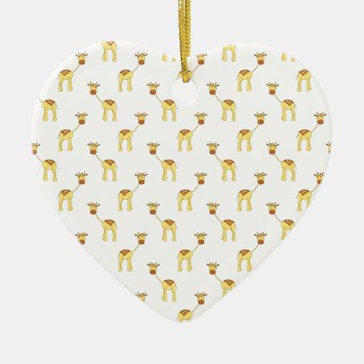 Cute Giraffe Pattern. Double-Sided Heart Ceramic Christmas Ornament