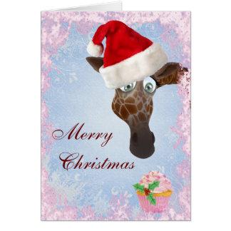 Cute Giraffe Pink Cupcake Christmas Card