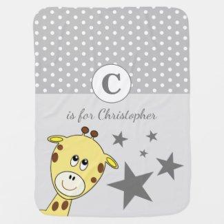 Cute giraffe polka dots and stars grey baby blanket