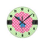 Cute giraffe polka dots clocks