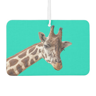Cute Giraffe Portrait on Teal Turquoise Car Air Freshener