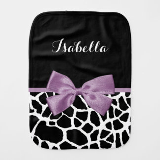 Cute Giraffe Print Lavender Purple Bow With Name Baby Burp Cloth