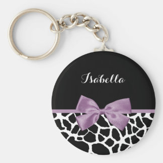 Cute Giraffe Print Lavender Purple Bow With Name Basic Round Button Keychain