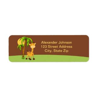 Cute Giraffe Return Address Labe Label