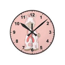 Cute Giraffe Round Clock