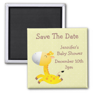 Cute Giraffe Save The Date Baby Shower 2 Inch Square Magnet