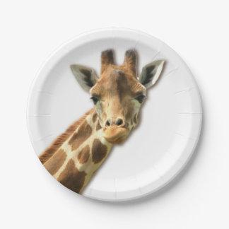 Cute Giraffe 7 Inch Paper Plate