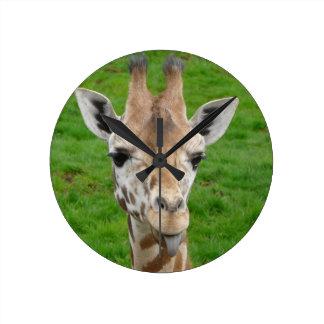 Cute Giraffe Sticking Out Tongue Round Wall Clock