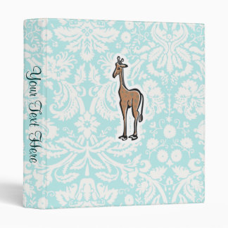 Cute Giraffe; Teal Vinyl Binder