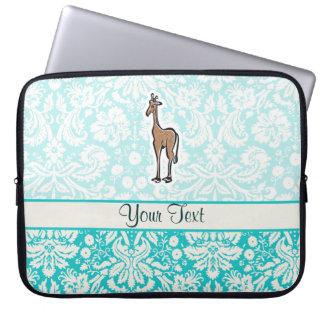 Cute Giraffe; Teal Laptop Sleeve