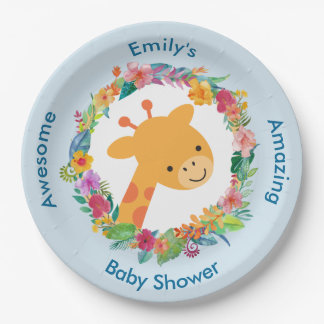 Cute Giraffe with a Floral Wreath Baby Shower Paper Plate