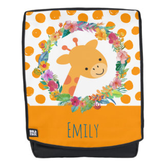 Cute Giraffe with a Floral Wreath on Orange Spots Backpack